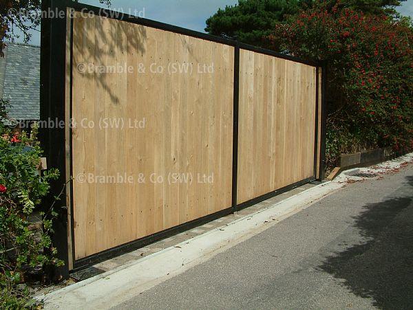 Wooden Gates In Steel Frame Devon