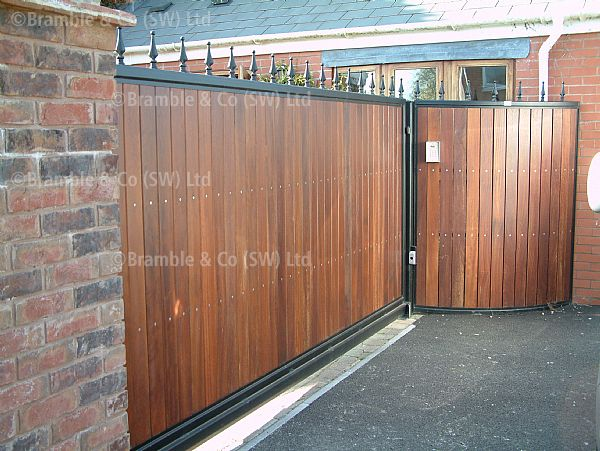 Sliding Wooden Cantilever Gate With Railing Somerset