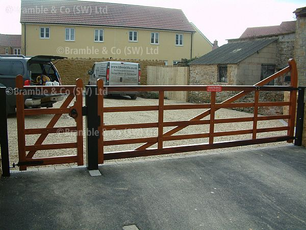 Wooden 5 Bar Electric Gate in Yeovil,Somerset